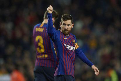 Messi celebra su gol 400 en LaLiga.
