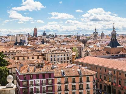 Panorámica de los edificios y azoteas del centro de Madrid.