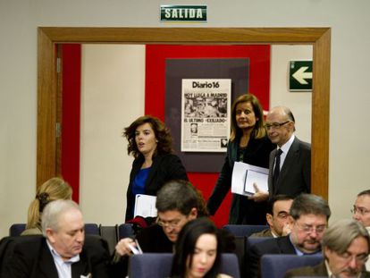 Los ministros comparecen tras el Consejo de Ministros.