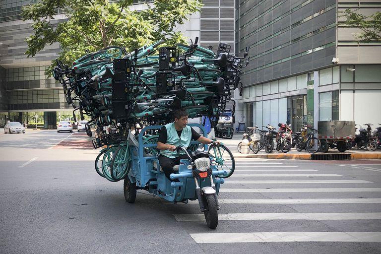 Bicicletas de Didi Chuxing Technology en Pekín el pasado 7 de julio