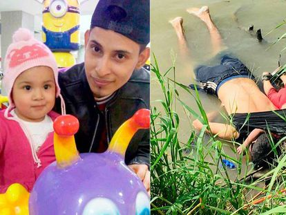 Óscar y Valeria, en una foto de hace un año; a la derecha, ahogados en el Río Bravo. En vídeo, un padre y su hija mueren ahogados en el Río Bravo cuando trataban de llegar a EEUU.