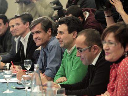 Juan Fernando López Aguilar en la reunión en un hotel madrileño entre los firmantes de 'Mucho PSOE por hacer'.