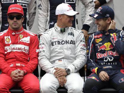 Alonso, Schumacher y Vettel, en Brasil.