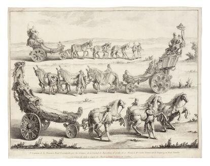 Francesc Tramulles. Máscara Real, Carro de Eolo. 1764. Aguafuerte