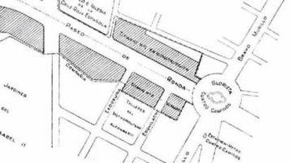 Plano de parcelación de Cuatro Caminos que presenta Miguel Otamendi en 1920.