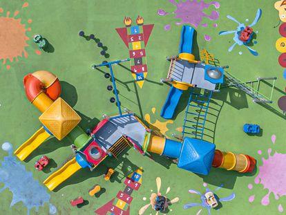 Vista aérea de un parque de juegos en la ciudad de México DF.