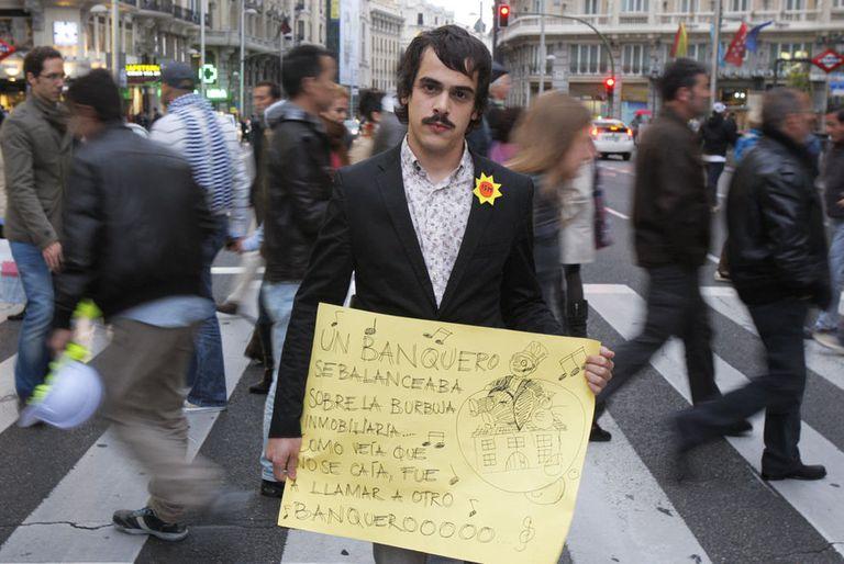 Jon Aguirre Such, portavoz de Democracia Real Ya!, uno de los cuatro españoles elegidos por <i>Time.</i>