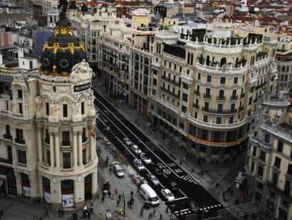 La Gran Vía, vista desde la terraza del Círculo de Bellas Artes.