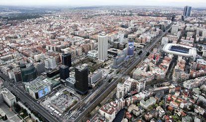 Vista aérea de AZCA, en Madrid.