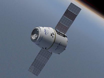 Ilustración de la cápsula Dragon con los paneles solares desplegados