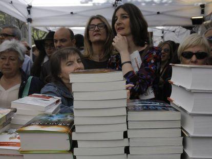 Libros el pasado Sant Jordi en Barcelona.
