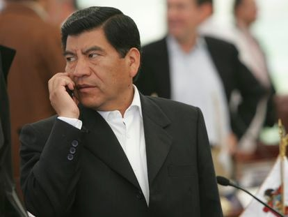 El exgobernador Mario Marín en Ixtapán de la Sal, en 2006.