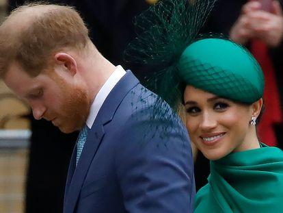 Enrique de Inglaterra y Meghan Markle, en la abadía de Westminster, en Londres, el 9 de marzo de 2020, en su último acto público dentro de la familia real británica.