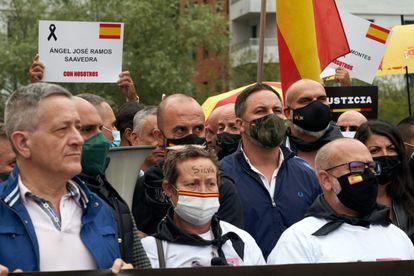 El líder de Vox, Santiago Abascal, este sábado durante el acto convocado por Vox en homenaje a las víctimas del etarra Henri Parot en Arrasate-Mondragón.