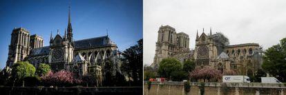 Notre Dame, antes y después del fuego. |