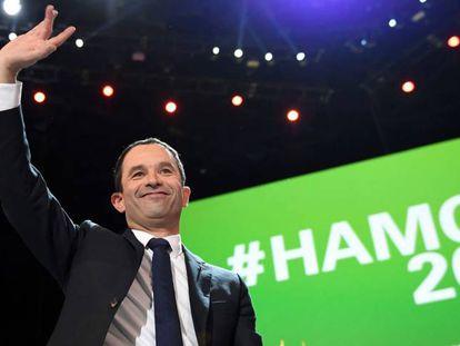 El candidato socialista, Benoît Hamon, este domingo en Paris.