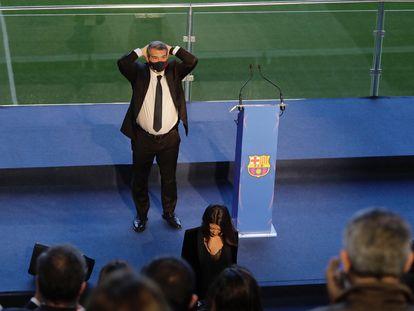 Laporta, justo antes de tomar la palabra en el acto de la toma de posesión.