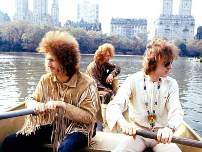 Cream en noviembre de 1968 en Central Park, Nueva York. De izquierda a derecha, Eric Clapton, Ginger Baker y Jack Bruce.