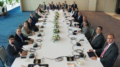 La mesa del diálogo venezolano en Ciudad de México.