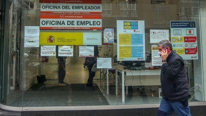 Oficina de Empleo en Madrid, en enero de 2021.
