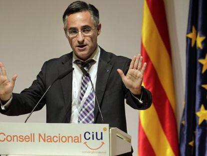 El eurodiputado Ramon Tremosa pronunciando un discurso en un consejo nacional de CDC el pasado mes de abril.