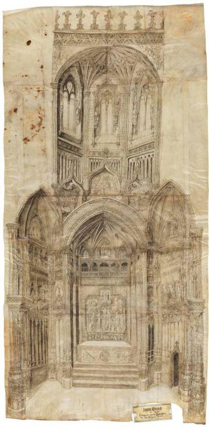 Capilla mayor de san Juan de los Reyes, Toledo (1485-1490). Juan Guas. Pluma sobre pergamino del arquitecto Juan Guas.