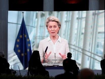 La presidenta de la Comisión Europea, Ursula von der Leyen, durante la celebración del 40 aniversario de la incorporación de Grecia a la UE, este jueves en Atenas.