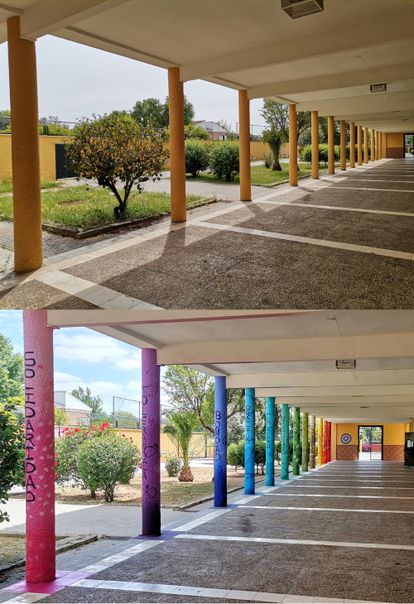 Patio del colegio antes y después de la intervención.