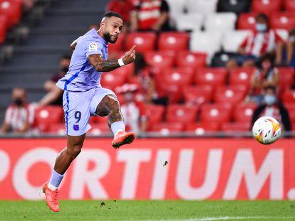 Memphis marca el gol del empate del Barça en San Mamés.