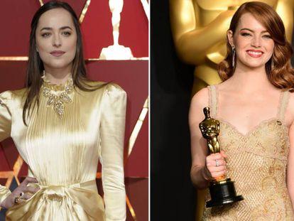 Dakota Johnson y Emma Stone, en la pasada entrega de los Oscar.