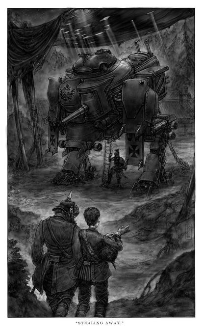 Ilustración de Keith Thomson.para la trilogía 'Leviathan'.