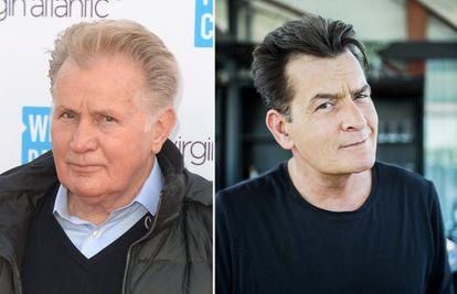 El actor Martin Sheen y, a la derecha, su hijo, y también intérprete, Charlie Sheen.