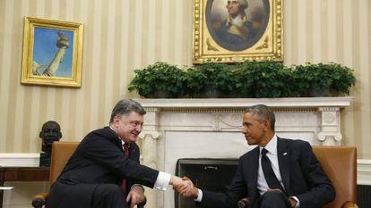 Poroshenko y Obama en el Despacho Oval.