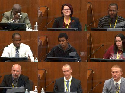 Los testigos en Minneapolis, Minnesota, durante el juicio del ex oficial de policía Derek Chauvin.