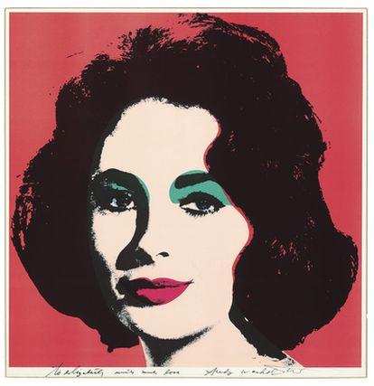 Litografía de Elizabeth Taylor realizada por Andy Warhol, que ha alcanzado en subasta más de 550.000 euros.