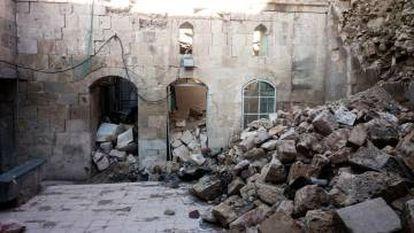 Edificio en estado ruinoso de la Alepo Oriental.