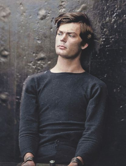 Confederate Lewis Powell, one of the conspirators to assassinate Lincoln, in jail.  Colorized from the photograph of Alexander Gardner taken before his hanging in 1865.
