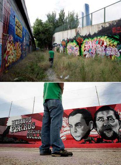 En la imagen de arriba, dos muros con grafitis junto a las cocheras de la EMT, en el distrito e Fuencarral. Abajo, las imágenes de Zapatero y Rajoy en el parque Ana Tutor.