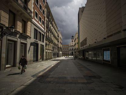La calle Preciados de Madrid, el pasado 23 de marzo, durante el estado de alarma.