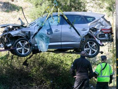 El coche de Tiger Woods, siniestrado.