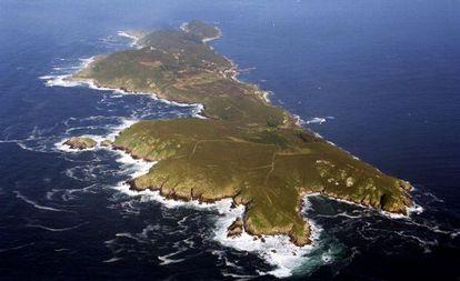 Vista aérea de la isla de Ons, en la ría de Pontevedra.
