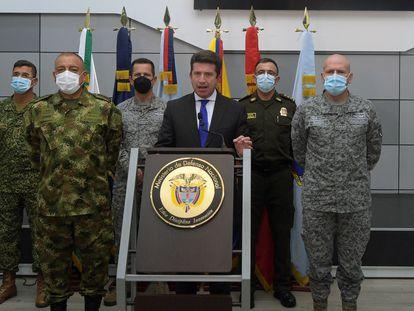 El ministro de Defensa de Colombia, Diego Molano, durante una rueda de prensa sobre el bombardeo del pasado 2 de marzo en Guaviare.