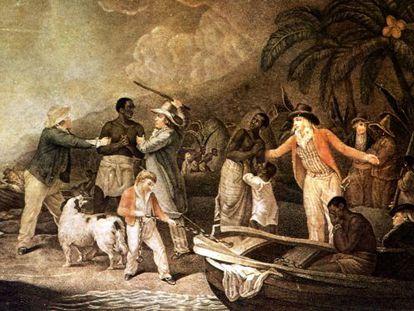 Tráfico de esclavos, en un grabado de Rollet a partir de un cuadro de George Morland.
