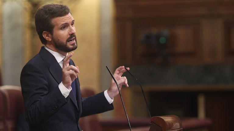 El presidente del PP, Pablo Casado, interviene durante la segunda sesión de la moción de censura planteada por Vox.
