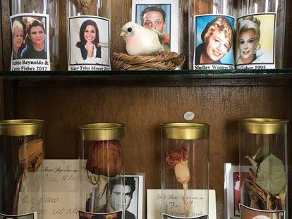 flores disecadas recogidas en los funerales de celebridades en el museo Queridos Difuntos.