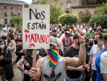 Concentración este lunes en Ourense para condenar el asesinato de Samuel Luiz en A Coruña.