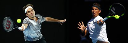 Federer y Nadal, durante su participación en Australia este año.