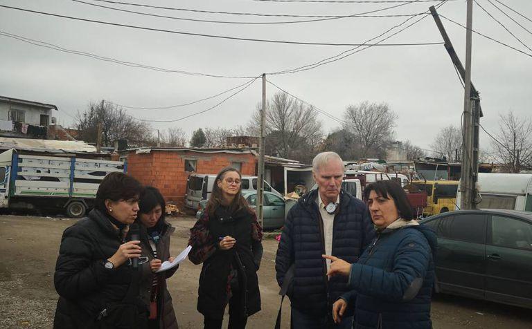Visita del relator especial de Naciones Unidas, Philip Alston, a la Cañada Real (Madrid).