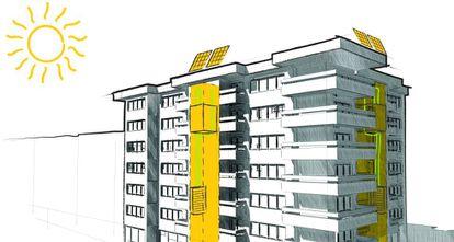 Proyecto de edificio con ascensor solar.