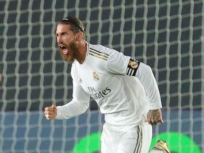Sergio Ramos celebra el 2-0 ante el Mallorca.
